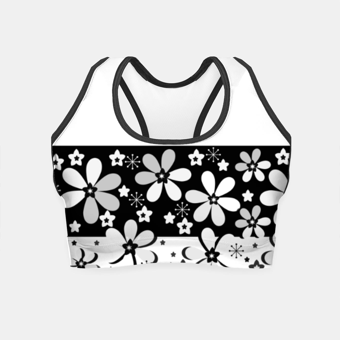 Image of  Black and white daisies Crop Top - Live Heroes