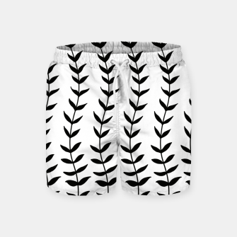 Minimal Black & White Leaves #1 #minimal #decor #art  Badeshorts miniature