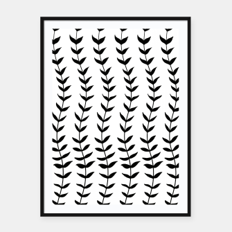 Minimal Black & White Leaves #1 #minimal #decor #art  Plakat mit rahmen miniature