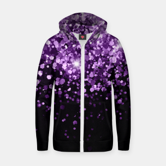 Thumbnail image of Dark Night Purple Black Glitter #1 (Faux Glitter) #shiny #decor #art Reißverschluss kapuzenpullover, Live Heroes