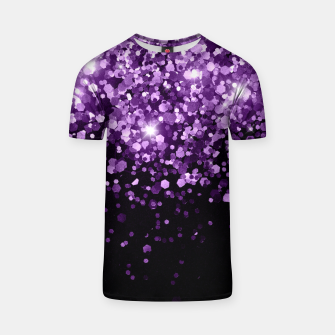 Dark Night Purple Black Glitter #1 (Faux Glitter) #shiny #decor #art T-Shirt obraz miniatury