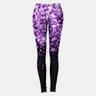 Dark Night Purple Black Glitter #1 (Faux Glitter) #shiny #decor #art Leggings miniature