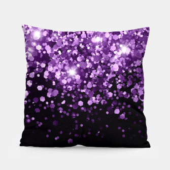 Miniatur Dark Night Purple Black Glitter #1 (Faux Glitter) #shiny #decor #art Kissen, Live Heroes