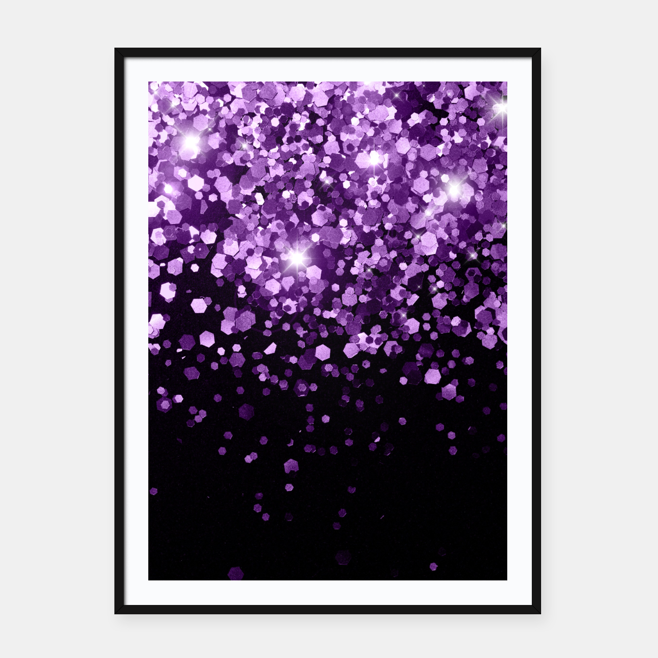 Zdjęcie Dark Night Purple Black Glitter #1 (Faux Glitter) #shiny #decor #art Plakat mit rahmen - Live Heroes
