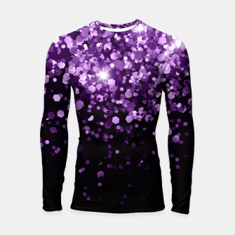 Thumbnail image of Dark Night Purple Black Glitter #1 (Faux Glitter) #shiny #decor #art Longsleeve rashguard, Live Heroes