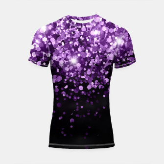 Thumbnail image of Dark Night Purple Black Glitter #1 (Faux Glitter) #shiny #decor #art Shortsleeve rashguard, Live Heroes