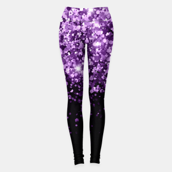Dark Night Purple Black Glitter #1 (Faux Glitter) #shiny #decor #art Leggings obraz miniatury