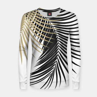 Palm Leaves Gold & Black Vibes #1 #tropical #decor #art  Frauen sweatshirt obraz miniatury