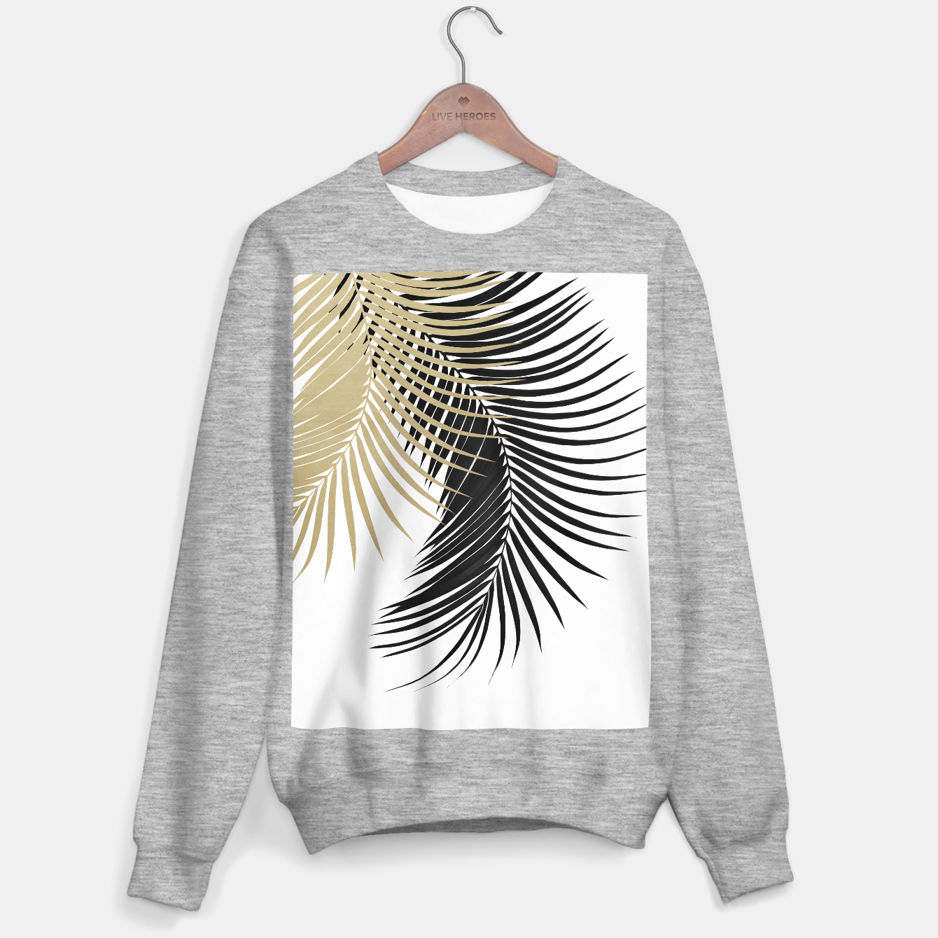 Image de Palm Leaves Gold & Black Vibes #1 #tropical #decor #art  Sweatshirt regulär - Live Heroes