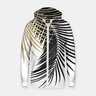 Palm Leaves Gold & Black Vibes #1 #tropical #decor #art  Reißverschluss kapuzenpullover obraz miniatury