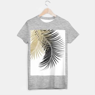 Palm Leaves Gold & Black Vibes #1 #tropical #decor #art  T-Shirt regulär obraz miniatury