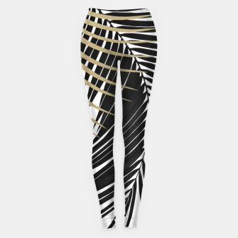 Palm Leaves Gold & Black Vibes #1 #tropical #decor #art  Leggings miniature