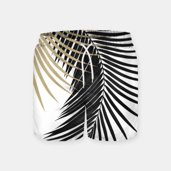 Palm Leaves Gold & Black Vibes #1 #tropical #decor #art  Badeshorts obraz miniatury