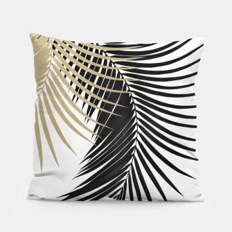 Palm Leaves Gold & Black Vibes #1 #tropical #decor #art  Kissen miniature