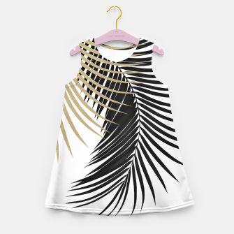 Miniaturka Palm Leaves Gold & Black Vibes #1 #tropical #decor #art  Mädchen-Sommerkleid, Live Heroes