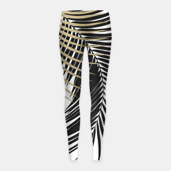 Palm Leaves Gold & Black Vibes #1 #tropical #decor #art  Kinder-Leggins obraz miniatury