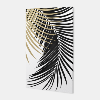 Palm Leaves Gold & Black Vibes #1 #tropical #decor #art  Canvas obraz miniatury
