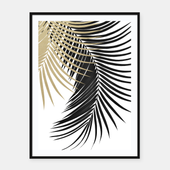 Palm Leaves Gold & Black Vibes #1 #tropical #decor #art  Plakat mit rahmen miniature