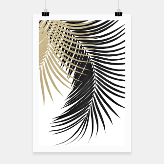 Miniatur Palm Leaves Gold & Black Vibes #1 #tropical #decor #art  Plakat, Live Heroes