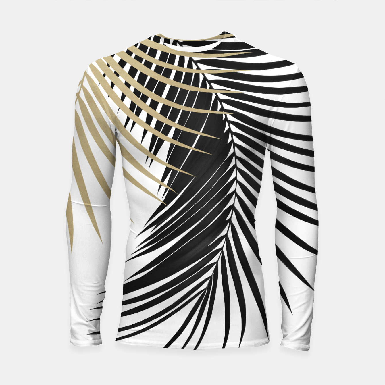 Image of Palm Leaves Gold & Black Vibes #1 #tropical #decor #art  Longsleeve rashguard - Live Heroes
