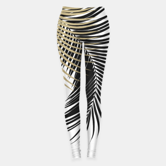 Palm Leaves Gold & Black Vibes #1 #tropical #decor #art  Leggings obraz miniatury