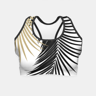 Palm Leaves Gold & Black Vibes #1 #tropical #decor #art  Crop Top obraz miniatury