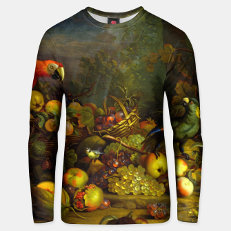Imagen en miniatura de Parrots, Fruits and Other Animals Still Life Painting Unisex sweater, Live Heroes