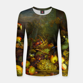 Imagen en miniatura de Parrots, Fruits and Other Animals Still Life Painting Women sweater, Live Heroes
