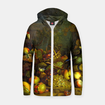 Imagen en miniatura de Parrots, Fruits and Other Animals Still Life Painting Zip up hoodie, Live Heroes
