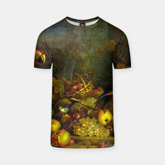Imagen en miniatura de Parrots, Fruits and Other Animals Still Life Painting T-shirt, Live Heroes