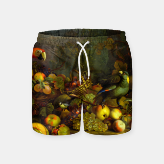 Imagen en miniatura de Parrots, Fruits and Other Animals Still Life Painting Swim Shorts, Live Heroes