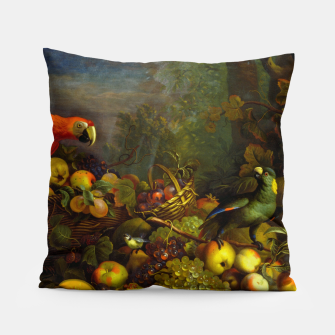 Imagen en miniatura de Parrots, Fruits and Other Animals Still Life Painting Pillow, Live Heroes