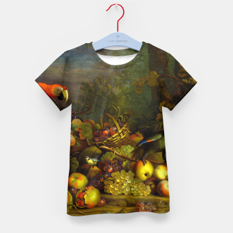 Imagen en miniatura de Parrots, Fruits and Other Animals Still Life Painting Kid's t-shirt, Live Heroes