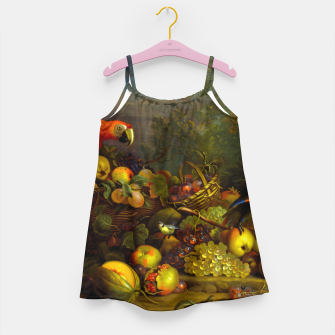 Imagen en miniatura de Parrots, Fruits and Other Animals Still Life Painting Girl's dress, Live Heroes