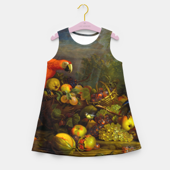 Imagen en miniatura de Parrots, Fruits and Other Animals Still Life Painting Girl's summer dress, Live Heroes