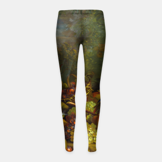 Imagen en miniatura de Parrots, Fruits and Other Animals Still Life Painting Girl's leggings, Live Heroes