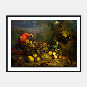 Imagen en miniatura de Parrots, Fruits and Other Animals Still Life Painting Framed poster, Live Heroes
