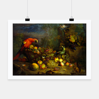 Imagen en miniatura de Parrots, Fruits and Other Animals Still Life Painting Poster, Live Heroes
