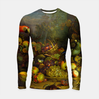 Imagen en miniatura de Parrots, Fruits and Other Animals Still Life Painting Longsleeve rashguard , Live Heroes