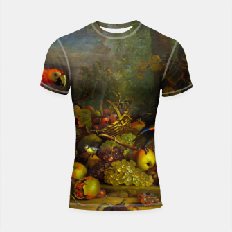 Imagen en miniatura de Parrots, Fruits and Other Animals Still Life Painting Shortsleeve rashguard, Live Heroes