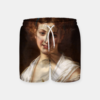 Thumbnail image of Young Lady With Blue Bow Fine Art Portrait Swim Shorts, Live Heroes