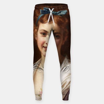 Thumbnail image of Young Lady With Blue Bow Fine Art Portrait Sweatpants, Live Heroes