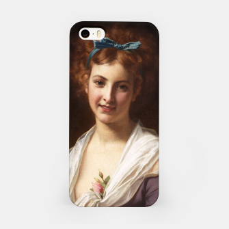 Thumbnail image of Young Lady With Blue Bow Fine Art Portrait iPhone Case, Live Heroes