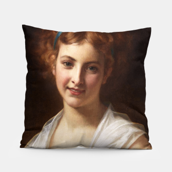 Thumbnail image of Young Lady With Blue Bow Fine Art Portrait Pillow, Live Heroes