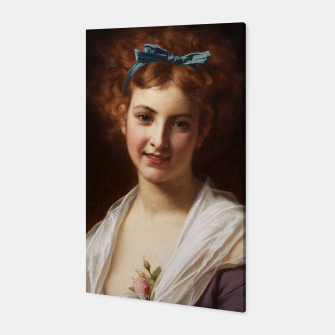Thumbnail image of Young Lady With Blue Bow Fine Art Portrait Canvas, Live Heroes