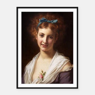 Thumbnail image of Young Lady With Blue Bow Fine Art Portrait Framed poster, Live Heroes