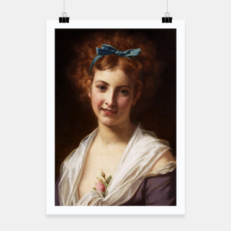 Thumbnail image of Young Lady With Blue Bow Fine Art Portrait Poster, Live Heroes