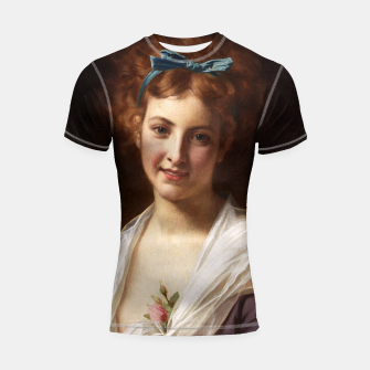 Miniaturka Young Lady With Blue Bow Fine Art Portrait Shortsleeve rashguard, Live Heroes