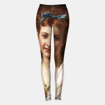 Miniaturka Young Lady With Blue Bow Fine Art Portrait Leggings, Live Heroes