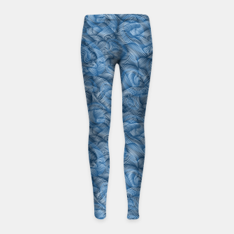 Thumbnail image of Ocean Waves in Classic Blue Girl's leggings, Live Heroes